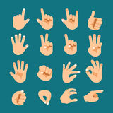 Flat style hand gesture icon set Royalty Free Stock Images
