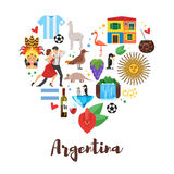 flat style heart shape composition of Argentina national cultural symbols. Stock Photography