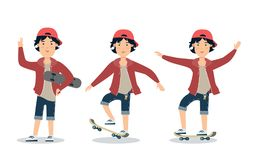 Flat boy skateboarding sport . Male teen ska. Flat style hipster teenager skateboarding  character illustration. Male teen skater on skate. Sport and activity Stock Photos