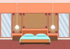 Flat style hotel room interior with furniture and huge mirrors. Royalty Free Stock Photography