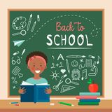 Flat style icon happy dark skinned girl in classroom. royalty free illustration
