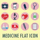 Flat style  icon set. Medical vector illustration Stock Photo