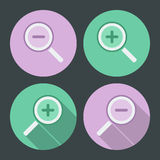Flat style icon set. Simple icons and with long. Shadow.Vector illustration. Magnifying glass, lupe Royalty Free Stock Images