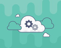 Flat style icon with white cloud, cogwheels on it Royalty Free Stock Photos