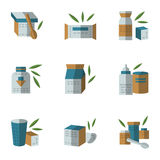 Flat style icons for baby food. Colored flat style icons collection for containers and jars for baby food. Organic food, healthy feed for baby. Elements of web Royalty Free Stock Photo