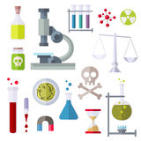 Flat Style Icons Chemistry Theme. Different objects of chemical and physical sciences. Colorful modern flat icons set. Collection of elements and concepts for vector illustration