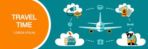 Flat style icons of traveling with a pet on airplane or car. royalty free illustration
