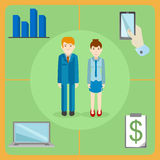 Flat style icons of a white collar office workers. A pair of white collar office workers, man and woman with office equipment - phone, laptop, financial graphs Royalty Free Stock Image