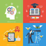 Flat style from idea to success banner set Royalty Free Stock Images