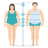 Flat style illistration of overweight man and women in full length with measurement lines of body parameters. Man and women clothes plus size measurements vector illustration