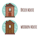 Flat style illustration with brick and wooden house. Vector. Royalty Free Stock Photo