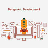 Flat style illustration for Design and Development. One page web design template with thin line icons of Design and Development Services. UI and UX for web, app Royalty Free Stock Photo