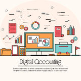 Flat style illustration for Digital Accounting. Modern flat style illustration of Digital Accounting Service, Investment Research, Business Data Analysis.One Stock Image