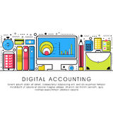Flat style illustration for Digital Accounting. Modern flat style illustration of Digital Accounting Service, Investment Research, Business Data and Market Royalty Free Stock Image