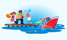 Flat style illustration of a father with children is driving a red radio-controlled model of a modern powerboat from the. Flat style illustration of a smiling vector illustration