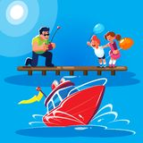 Flat style illustration of a father with children is driving a red radio-controlled model of a modern powerboat from the. Flat style illustration of a smiling stock illustration