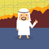 Flat style illustration of happy Arab with thumbs up Stock Image