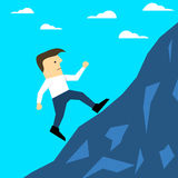 Flat style illustration of a man climbing a hill Royalty Free Stock Photo