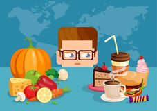 Man suffering with healthy diet choice royalty free illustration