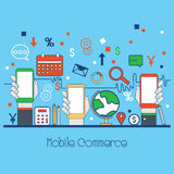 Flat style illustration for Mobile Commerce. One page web design template with Flat line icons of Mobile Commerce, Online Shopping and Payments. Modern Hero Royalty Free Stock Photo