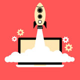 Flat style illustration of a rocket rising from a laptop Stock Photos