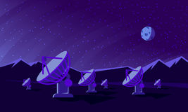 Flat style illustration with satellite dishes in the valley with mountains and moon on background. Stock Image