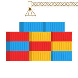 Flat style illustration of shipping containers Royalty Free Stock Photo