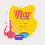 Flat style illustration of sweets, dates, and drink serving jug. With venue details, poster or banner design for Iftar Party Royalty Free Stock Images