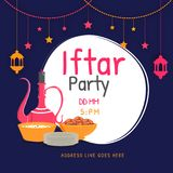Flat style illustration of sweets, dates, and drink serving jug. With venue details, hanging stars and lanterns on blue background, poster or banner design for Royalty Free Stock Image