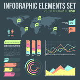 Flat style infographic elements set with diagrams. Vector flat design infographic elements set with map and charts on dark background Royalty Free Stock Photo