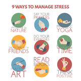 Flat style infographic on stress management. Modern flat style infographic on stress management. Elements designed as hand gestures Royalty Free Stock Images