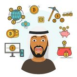 Flat style infographics with scared Arab person, blockchain and financial symbols. Bank bitcoin cryptocurrency vector. Flat style infographics with scared Arab stock illustration