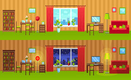 Flat style interior illustration. Night and day versions. Room Vector website header image or horizontal web banner. Room with window, bookcase, dining table Royalty Free Stock Photos