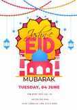 Flat style invitation card design with mosque illustration and venue details for Jashn-E-Eid Mubarak. Flat style invitation card design with mosque illustration royalty free illustration