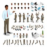Flat isometric body parts man  set. Business. Flat style isometric body parts of black man  illustration set. Male business character constructor: hair style Stock Image