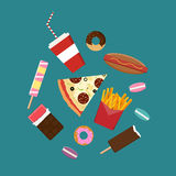 Flat style junk food icons.  Stock Images