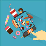 Flat style junk food icons.  stock illustration