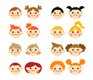 Flat style kids faces Stock Images