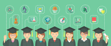 Flat Style Kids Graduation Concept With School Icons Royalty Free Stock Photos
