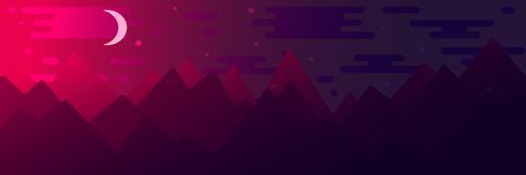 Flat style illustration with mountains royalty free illustration