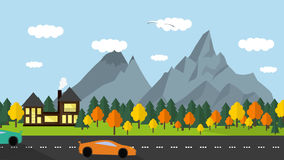 Flat style. Landscape with Road with cars stock video