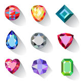 Flat style long shadow colored gems cuts icons Royalty Free Stock Image