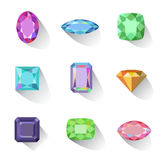 Flat style long shadow colored gems cuts icons Royalty Free Stock Images