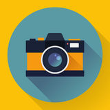 Flat style with long shadows, camera vector icon illustration Stock Photography