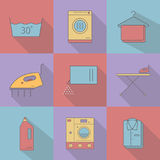 Flat style with long shadows, laundry vector icon. Royalty Free Stock Images