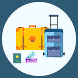 Flat style luggage travel concept Stock Photos