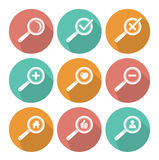 Flat style Magnifier icon set Royalty Free Stock Photos