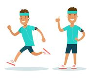 Flat male Athlete running runner . Woman jog. Flat style male Athlete running runner characters  illustration. Young man jogging workout. Girl standing with Stock Photo