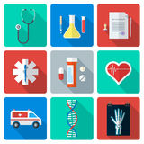 Flat style medical icons set. Vector various color flat style medical icons with shadow Stock Photography