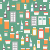Flat style medical pharmaceutical bottles glasses Royalty Free Stock Image